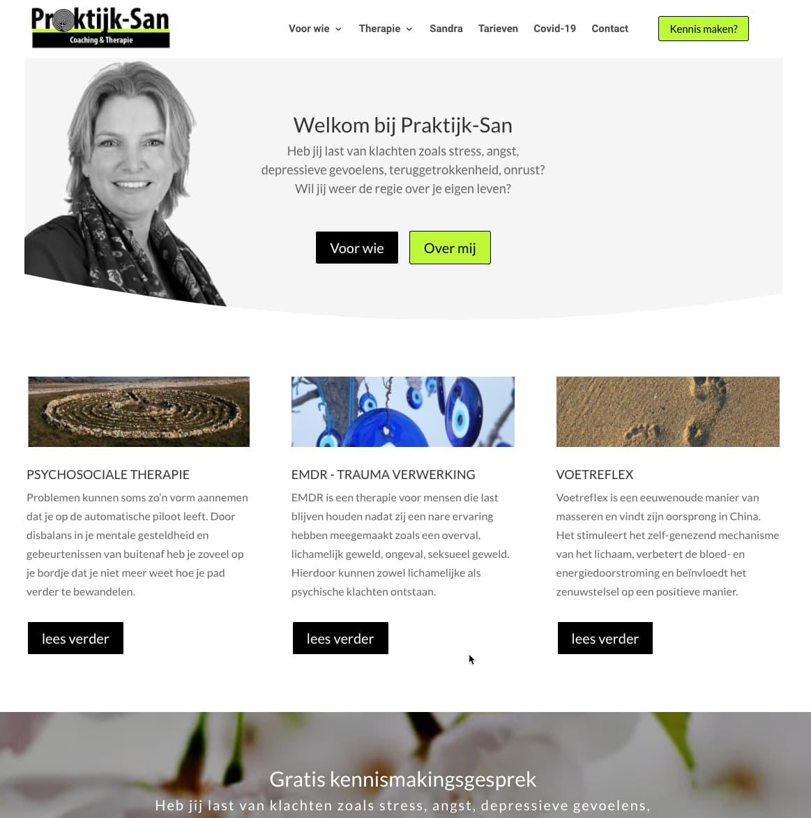 WordPress website voor Praktijk San